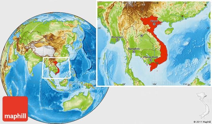 Physical location map of Vietnam.