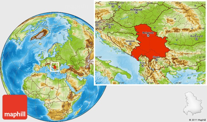 Physical location map of Serbia and Montenegro.